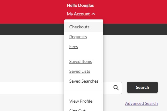 Account dropdown menu in the catalog.