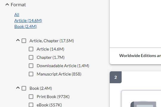 Detail of left sidebar in catalog, showing limiter options.