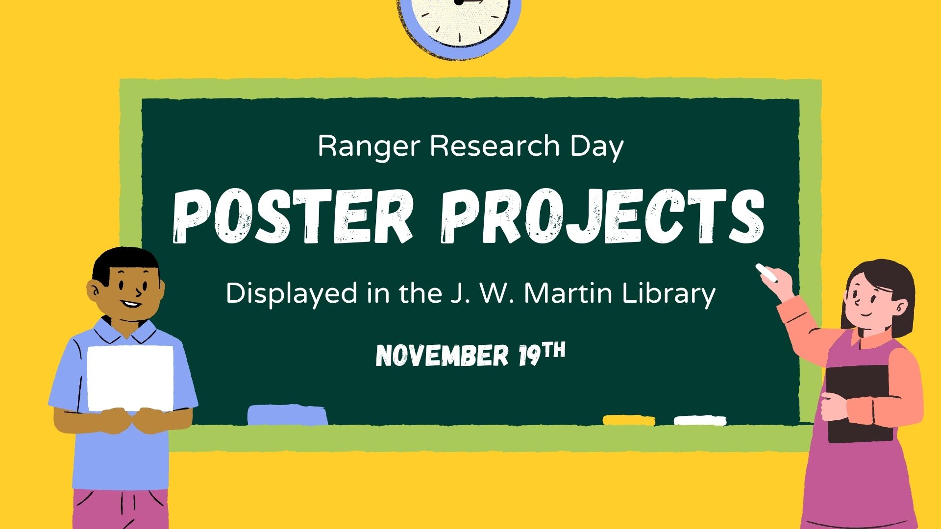 Ranger Research Day posters will be displayed in the library November 19th.