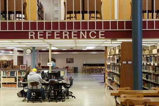 Reference area on the west side of the library.