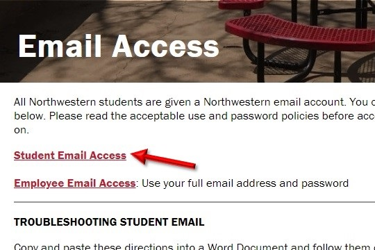 Student email access on the email page. loading=