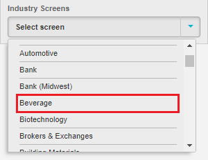 Industry Screens dropdown list with Beverage highlighted