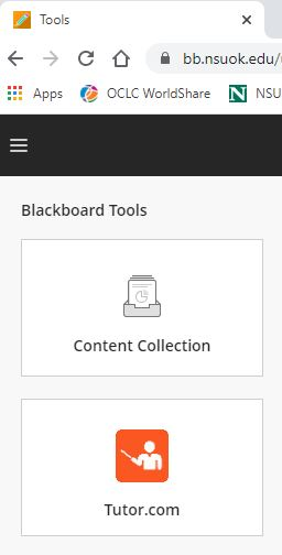 Screenshot showing how to find the Tutor dot com link in the Tools section of Blackboard