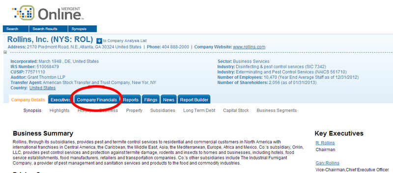 Company financials tab on Rollins, inc. profile page.