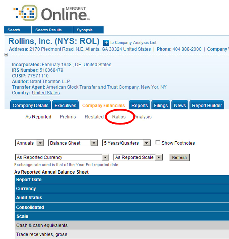 Ratios link highlighted on Rollins company financials tab.