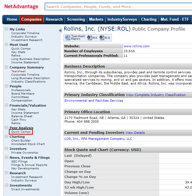 A list of links on the Rollins Public Company profile with the Quick Comps link highlighted