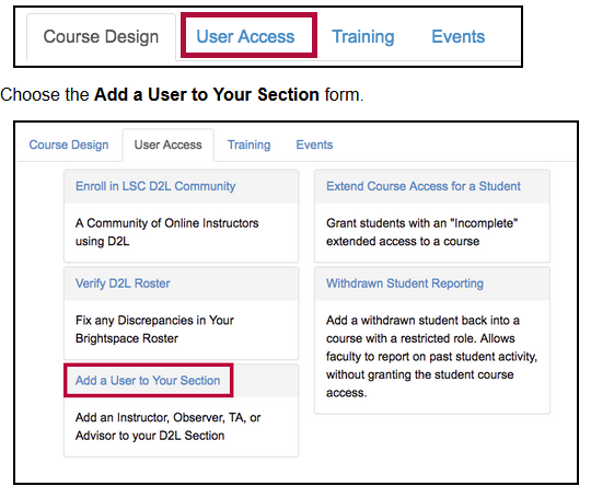 screenshot of add user to section