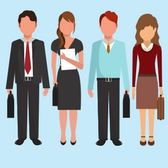Illustration of people dressed more formally and more casually in business attire
