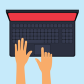 Illustration of a top-down view of hands on a laptop