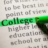 Photo: college being highlighted in the dictionary
