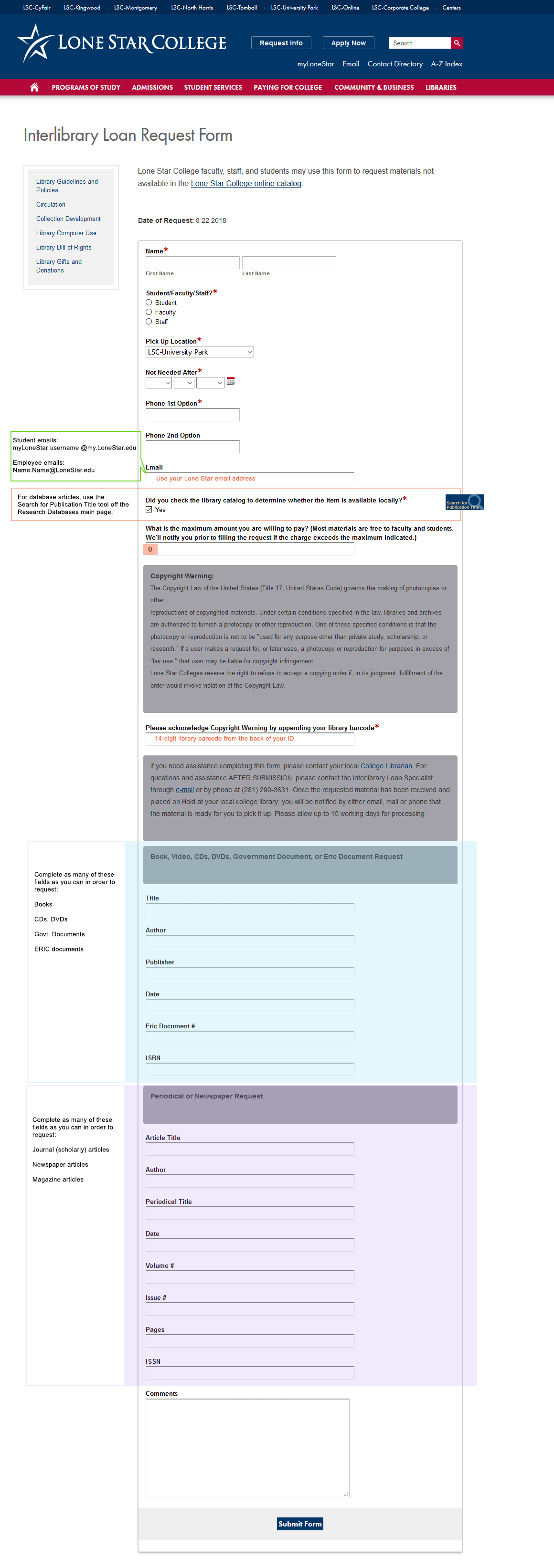 Annotated screenshot of the online inter-library loan form