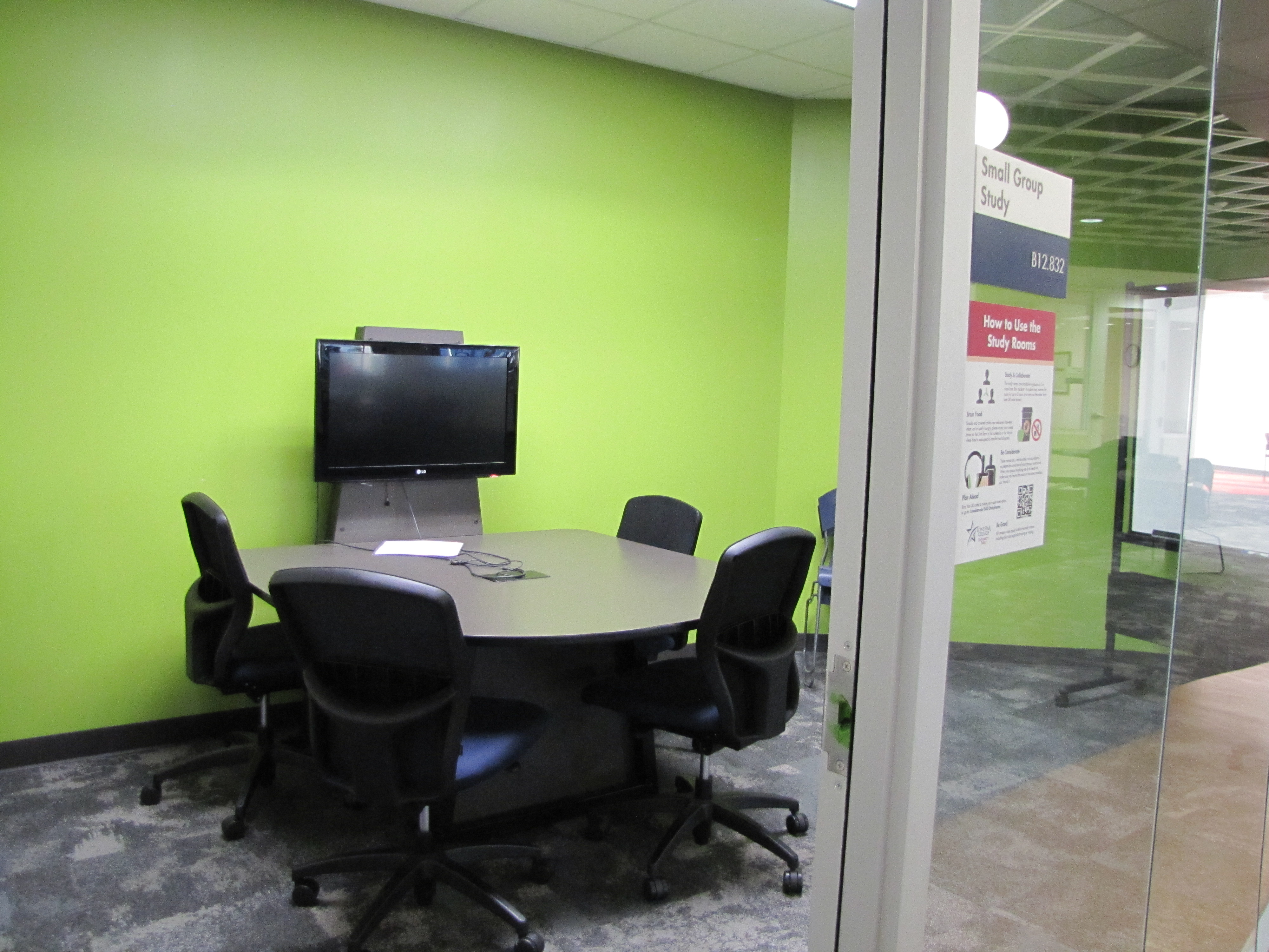 Green-walled study room
