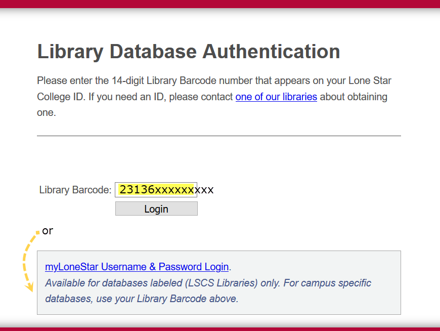 Database authentication page: below the field to enter your barcode is a link to log in with LSC username