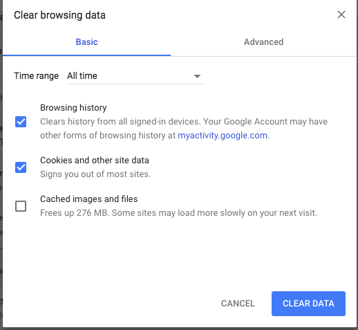Screenshot of Clear Browsing Data menu, showing checked boxes next to Browsing History and Cookies