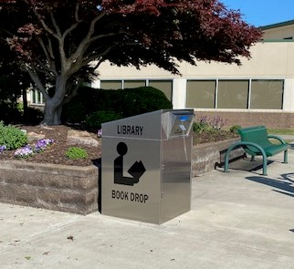 photo of book drop outside Burns Hall