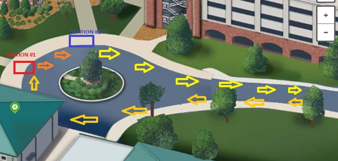 map of Bogle Plaza round-about with arrows to show traffic flow