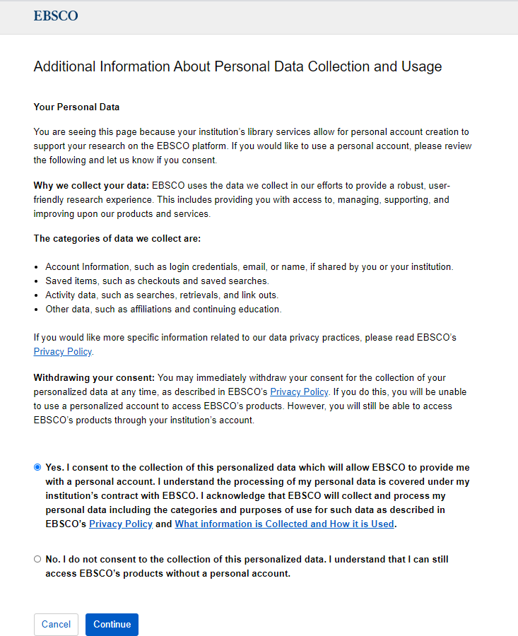 EBSCO Consent to Personal Data Collection