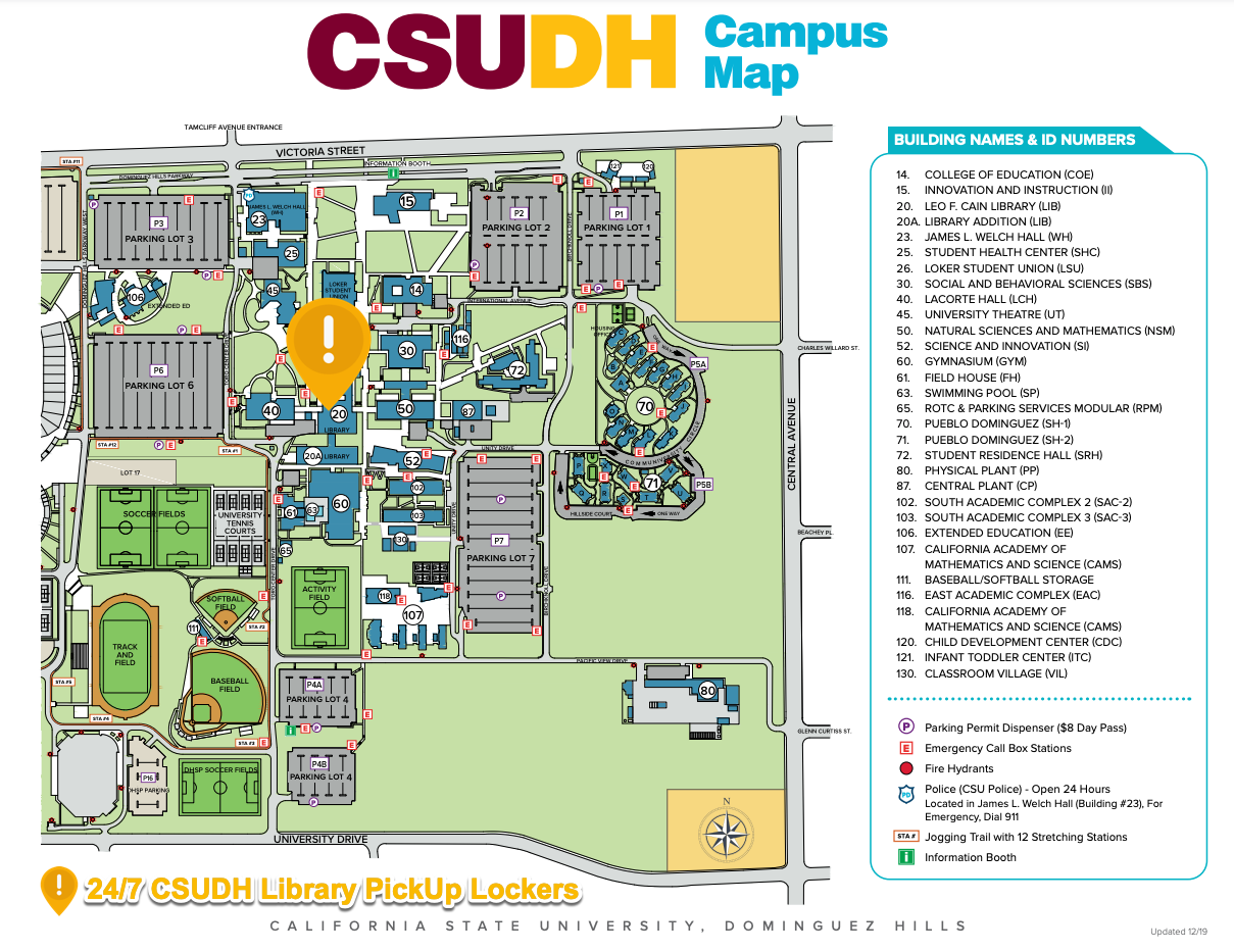 Highlight on campus map of 24-7 Library Lockers location