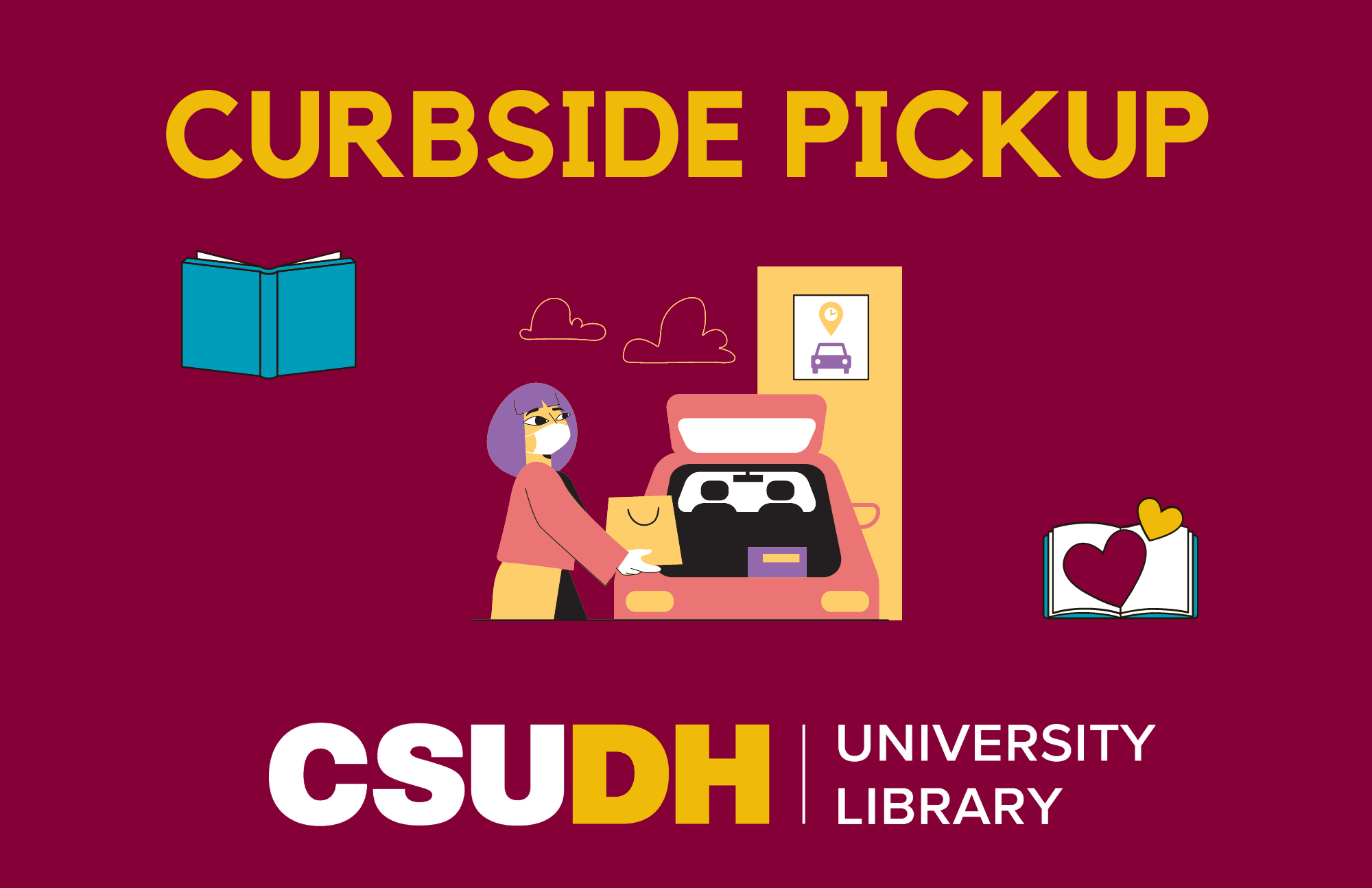 Curbside Pickup visual - image of a woman loading a bag into the hatchback of a car