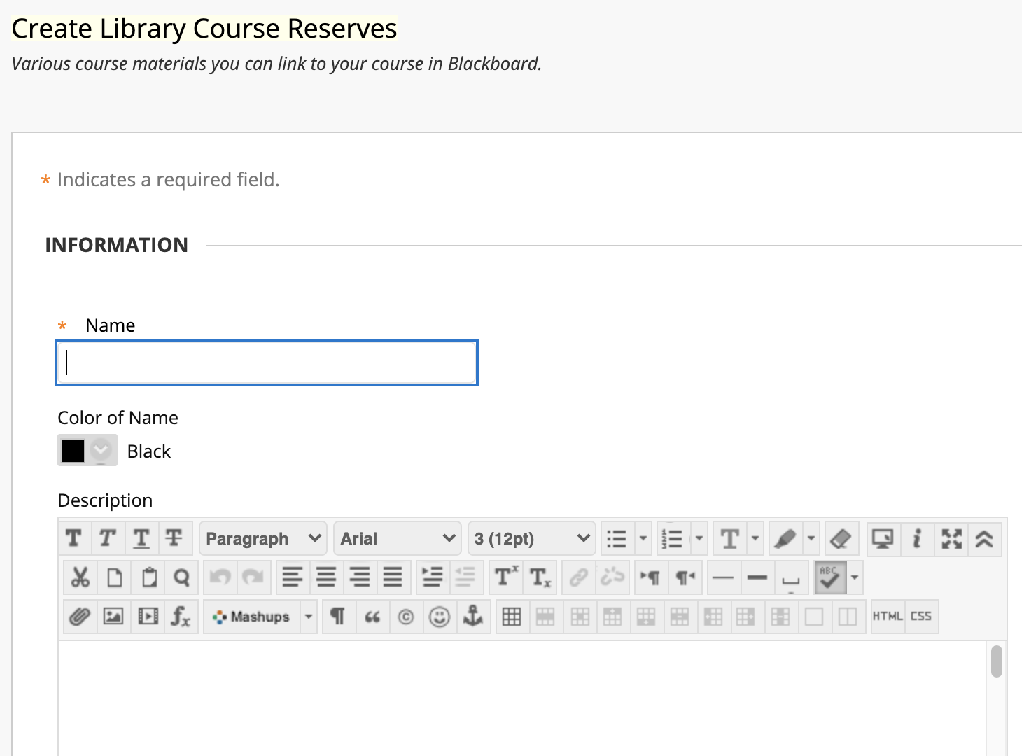 Adding a name and description to your new Blackboard Library Course Materials reading list