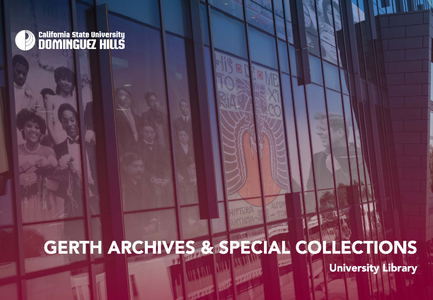 Image of University Library building. Text with Gerth Archives & Special Collections.