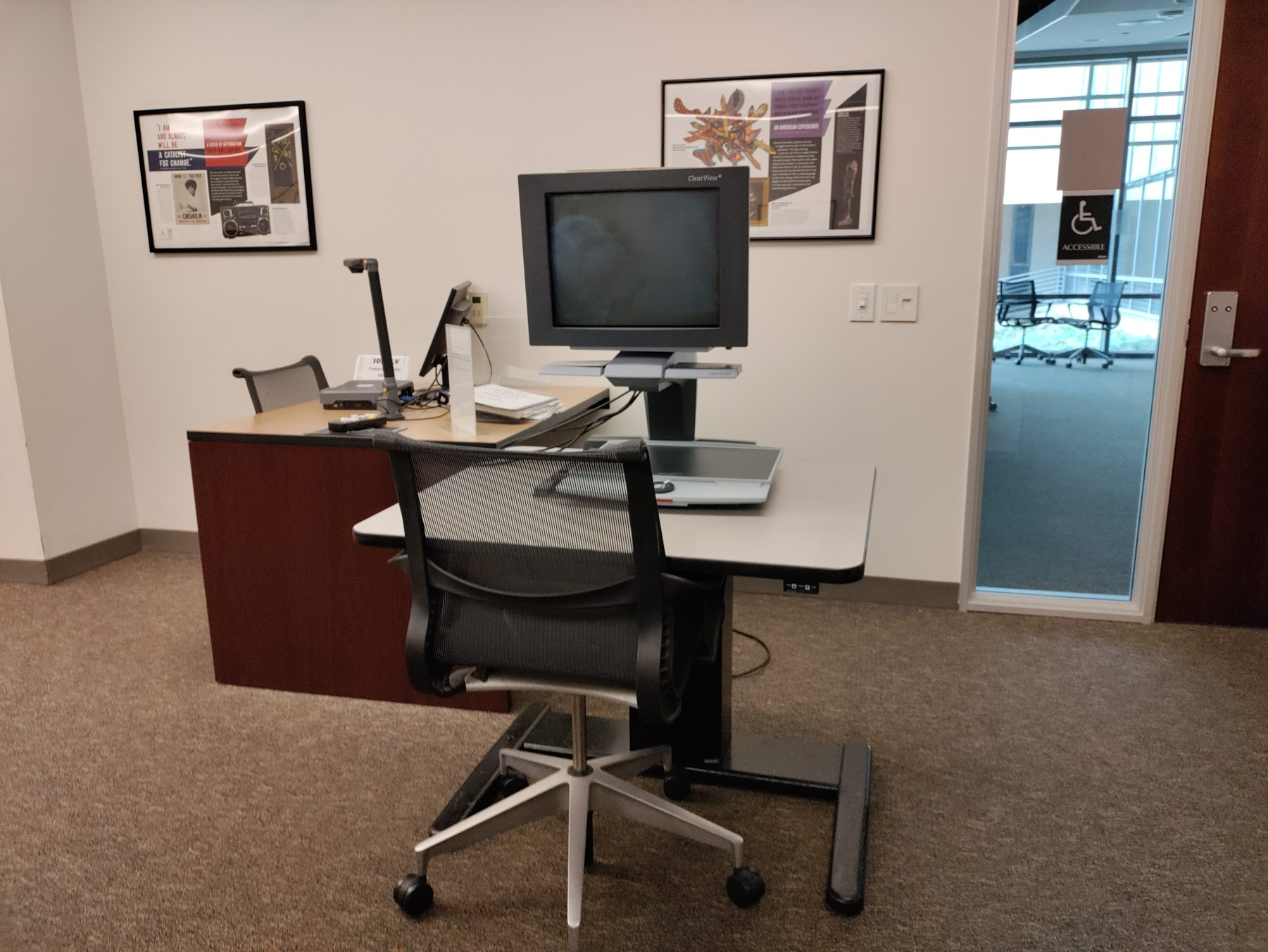 Assistive technology room with computer.