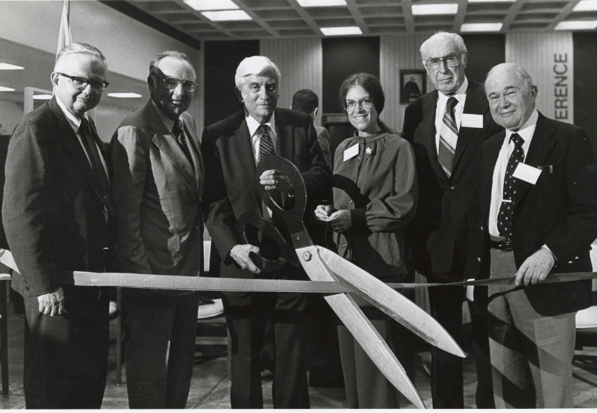 B&W photograph from CSU System Archives of opening ceremony.
