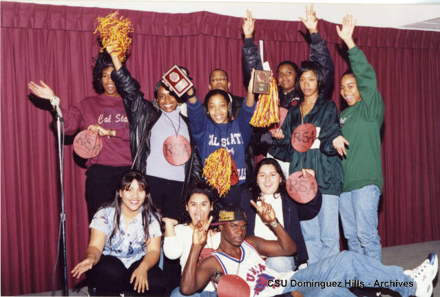 Student group with pom poms and plaques. RSA group at Toro Days/Homecoming 1997.