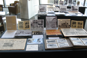 Exhibit case of archival material in the Gerth Archives & Special Collections at CSUDH.