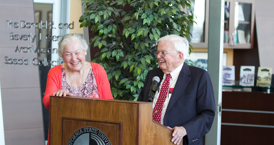 Donald and Beverley Gerth at the Gerth Archives dedication.