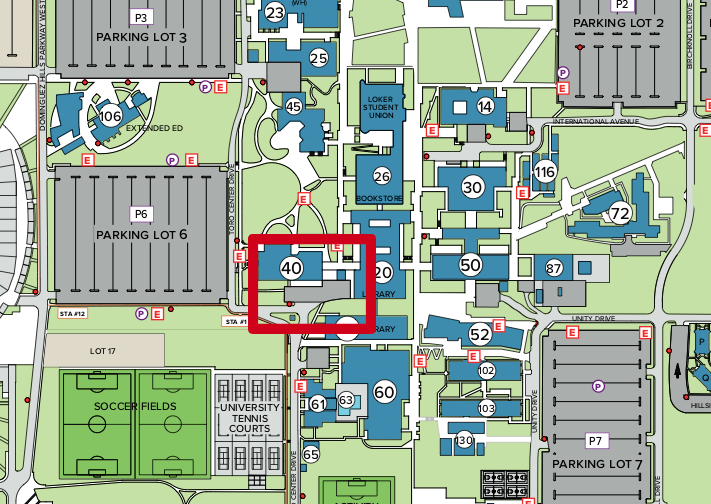 Map of CSUDH Campus with loading dock behind the Library highlighted in a red square. The loading dock is accessible from Toro Center Drive near Parking Lot 6.