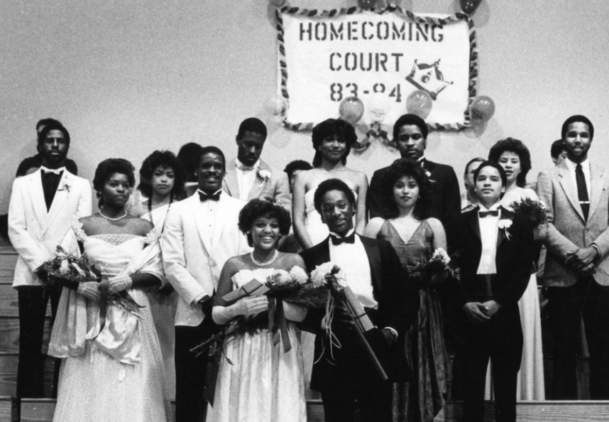 B&W photograph from CSUDH University Archives of Homecoming Court '83-'84.