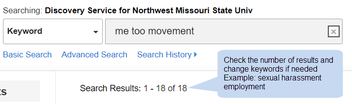 [ Look at the number of results and change keywords if needed ]