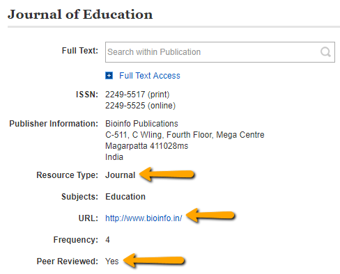 [ Screenshot of an Journal Title results - Journal ]