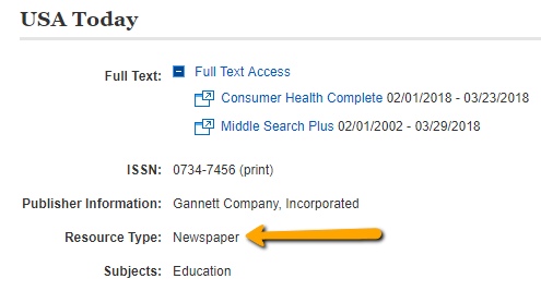 [ Screenshot of an Journal Title results - Newspaper ]