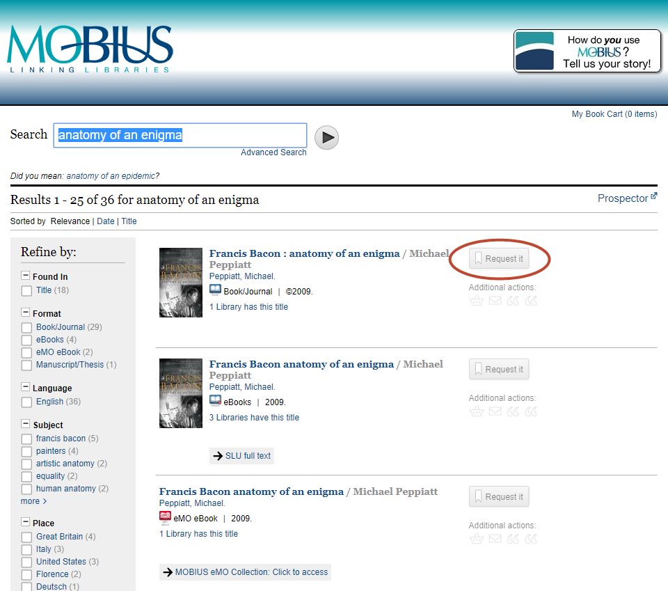 [ Image of Mobius Catalog Search Results ]