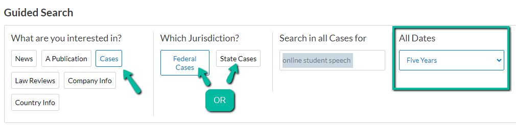 [ search example limiting to cases, federal, online free speech cases, last 5 years ]