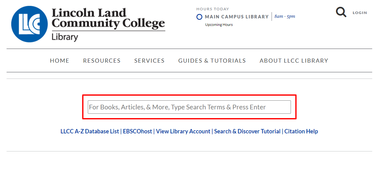 Screenshot of LLCC Library Homepage that shows the searchbox where users can access the LLCC Library Search & Discover interface.