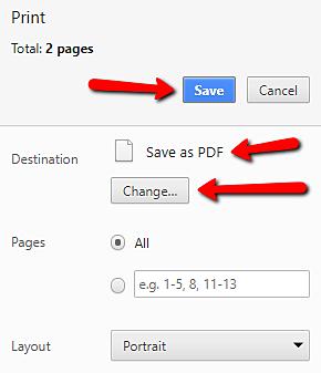 screenshot of saving as pdf