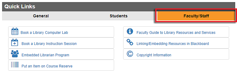 screenshot of Quick Links box Faculty/Staff tab