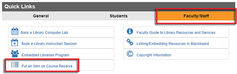 screenshot of Faculty Quick Links box