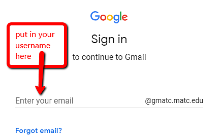 screenshot of google sign in