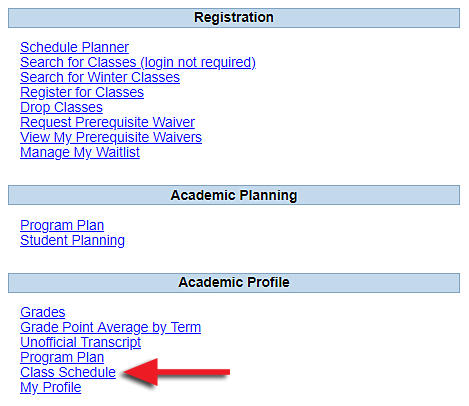 screenshot of class schedule in INFOnline