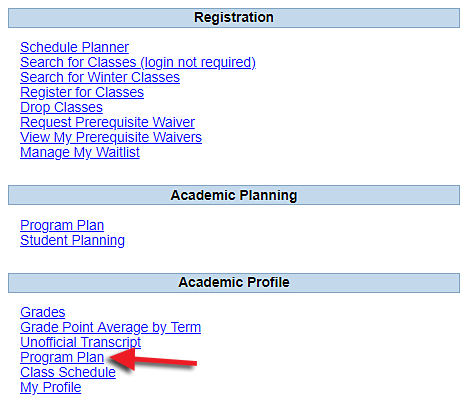 screenshot of Program Plan link in INFOnline