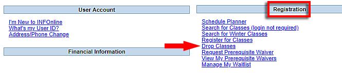 screenshot of drop classes in INFOnline