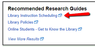 screenshot of Recommended Research Guides