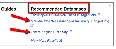 screenshot of Recommended Databases