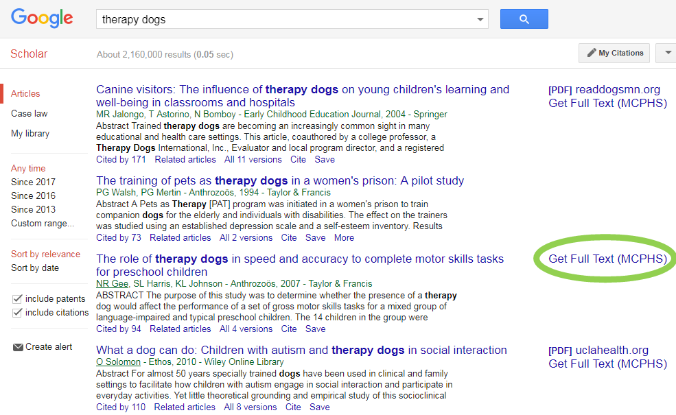 Use the Get Full Text (MCPHS) links next to the result to get the article.