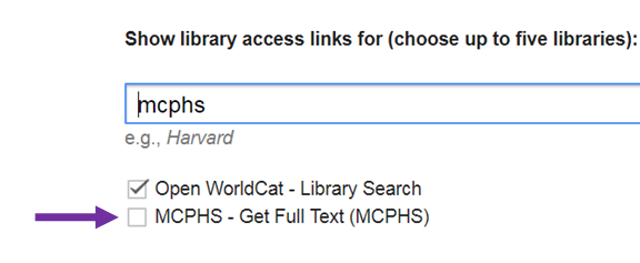 "Check box for ""Get Full Text (MCPHS)"""