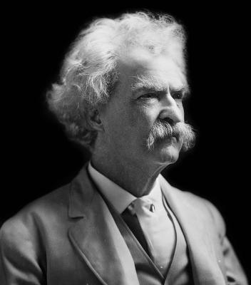 black and white photo of Mark Twain